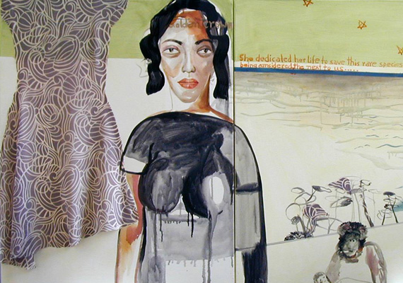 2008, Acrylic, Ink, Textile, Graphite on canvas